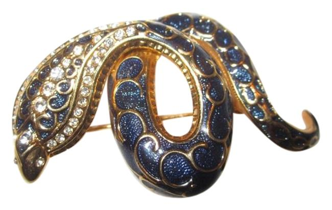 Item - Blue & Gold Box Estate Snake Pin From Joan's Personal Jewel