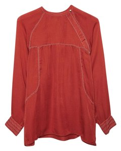 Isabel Marant Runway High Fashion Silk Top Red