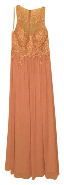 Item - Apricot with Rose Gold Crystals 183372 Long Formal Dress Size 6 (S)