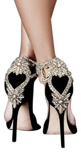 Aminah Abdul Jillil Crystal Gold Beaded Embellished Suede Black Pumps