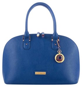 Joy & IMAN Zip Zip Organizer Birkin Dooney Bourke Like Coach Like Satchel in Navy Leather