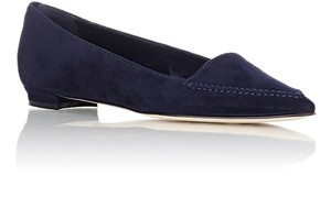 Manolo Blahnik Suede Pointed Toe Loafers Designer Navy Flats