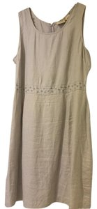 L.L.Bean short dress Lavender Linen Embroidered Waist on Tradesy