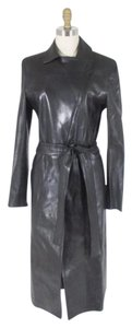 Gucci Leather Trench Asymmetric Zip Trench Coat