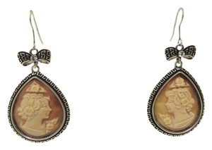 AMEDEO AMEDEO 30MM Pear Cameo Greek Key Drop Earrings