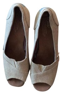 TOMS Summer Classic Linen Beach Taupe Wedges
