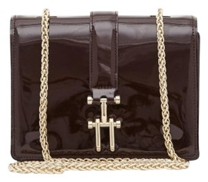 Reiss Patent Gold Chain Cross Body Bag