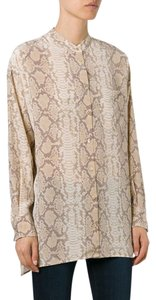 Equipment Snakeskin Silk Button Down Shirt Nude