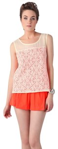 Marc by Marc Jacobs Silk Cotton Lace Bright Top Orange and White