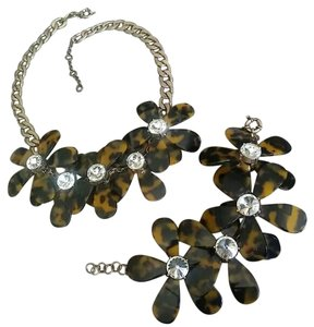 J.Crew Tortoise Shell Floral Necklace and Bracelet Set