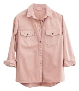 ANINE BING Denim Rose Button Down Shirt Pink