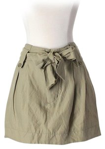 See by Chloé Wool Linen Belted Mini Skirt Tan