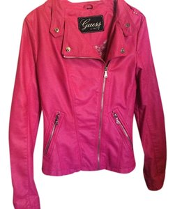 Guess Faux Leather Pink Leather Jacket