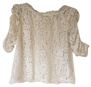 Joie Lace Sheer Ballerina Top White