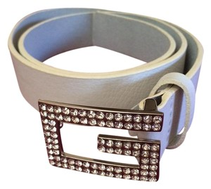 Guess White Guess Belt with Rhinestones