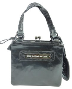 CoSTUME NATIONAL Leather Evening Satchel Black Clutch