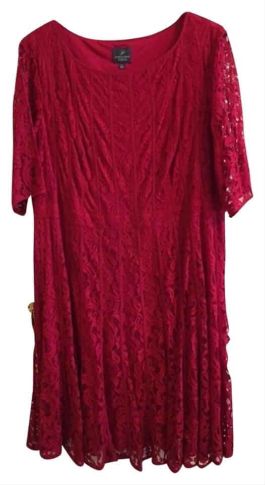 06a7ebbf5fa Adrianna Papell Red Lace Fit and Flare Knee Length Cocktail Dress ...