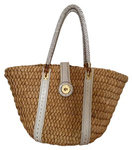 Michael Kors Leather Straw Tote in Straw, gold, and white