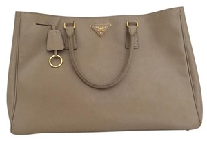 Prada Leather Saffiano Luxury Tote Satchel in Beige Taupe