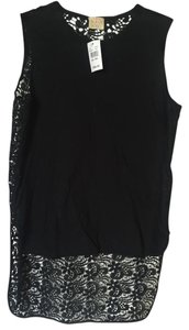 Torn by Ronny Kobo Lace Sleeveless Breathable Tags Cutaway Top Black