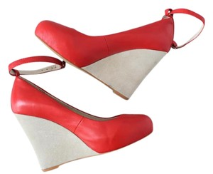 Jeffrey Campbell 7 Leather Red and Tan Wedges