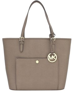 Michael Kors Leather Tote in Dark Dune