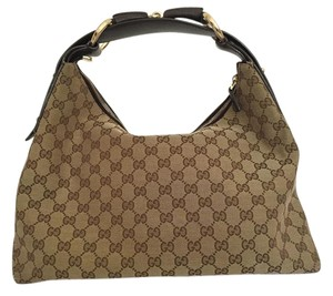 Gucci Leather Monogram Canvas Hobo Bag