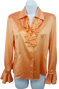 St. John Coral Silk Button Down Shirt
