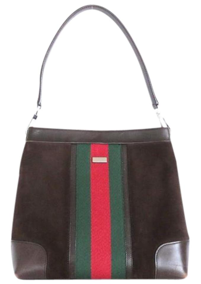 f7aaeed8b8d9 Gucci Chrome Hardware Red/Green Handle Rare Vintage Style Suede/Leather  Hobo Bag Image ...