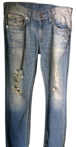 True Religion Ripped Medium Boot Cut Jeans-Light Wash
