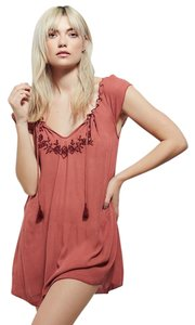 Free People Angie Embroidered Terra Cotta Tunic