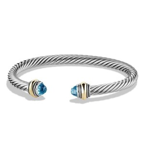 David Yurman Cable Classics Bracelet with Blue Topaz and Gold (Medium)