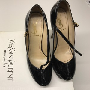 Saint Laurent Mary Jane Peep Toe Ysl Patent Leather Black Platforms