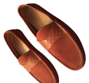 Gucci Mens Moccasins Driving Burnt Orange Flats