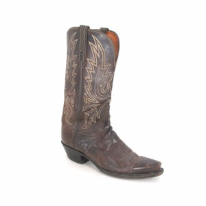Lucchese Cowboy Embroidered Dark Brown Boots
