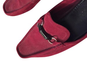 Gucci Mens Moccasin Casual Burgundy Suede Flats