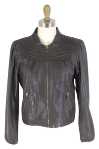 DOMA Cropped Moto Dark brown Leather Jacket