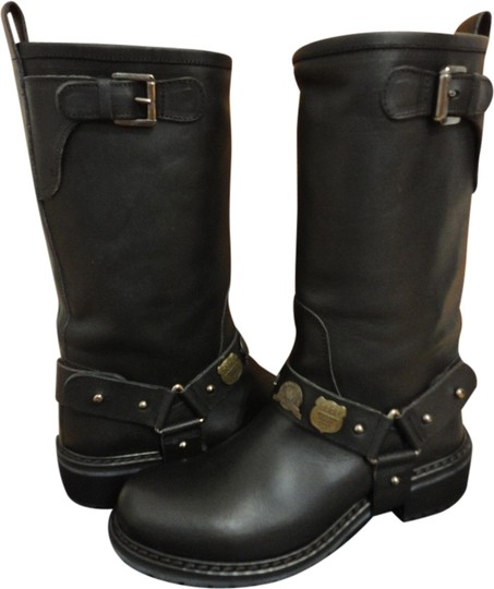 DSquared Leather Convertible 2 In 1 Studded Moto Black Boots