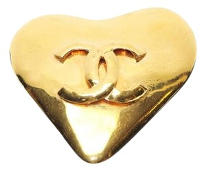 Chanel Gold Heart Shaped Brooch