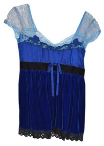 Free People Lace Embroidered Top Blue and Black