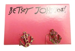 Betsey Johnson Pink Anchor Rhinestone Studs