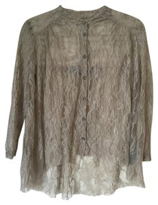 Raquel Allegra Lace Sheer Top Neutral brown/greyish