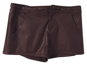 Forever 21 Leather X-small Studded Shorts brown