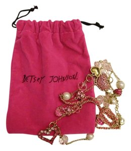 Betsey Johnson Pink Heart and Rose Long Necklace