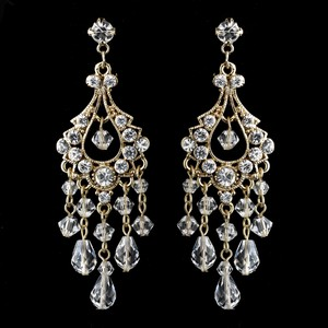 Elegance By Carbonneau Special - Gold Crystal Chandelier Earrings