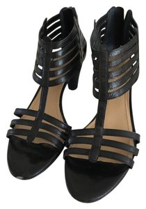 Nine West 3 Inch Heel Back Zipper Black Sandals