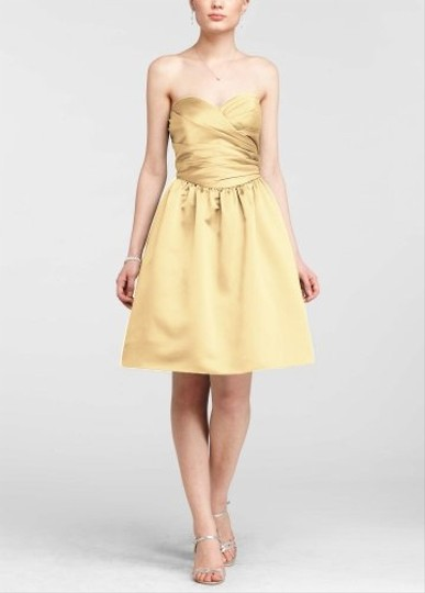 David's Bridal Canary Sweetheart Ruched Dress With Full Skirt Dress