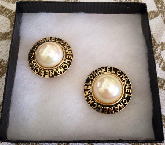 Chanel Chanel Faux Pearl With Chanel Script in Gold Plate Earrings