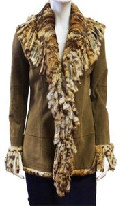 Paolo Santini Dark Olive Suede Green Leather Fur Trim Fringe Coat 4 Small Olive Green Leather Jacket