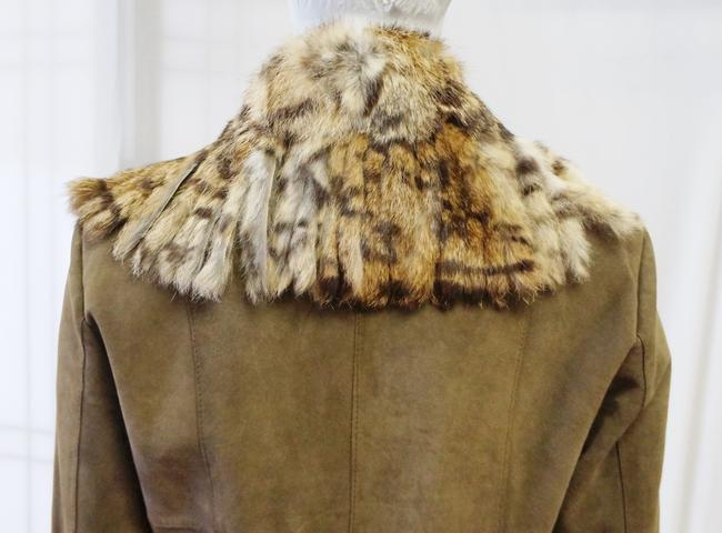 Paolo Santini Dark Suede Fur Trim Fringe Coat 4 Small Olive Green Leather Jacket